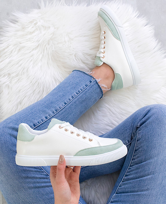 Sneakers-Laag-Wit-Mint